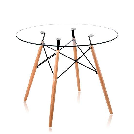 Стол круглый со стеклянной столешницей 90х72