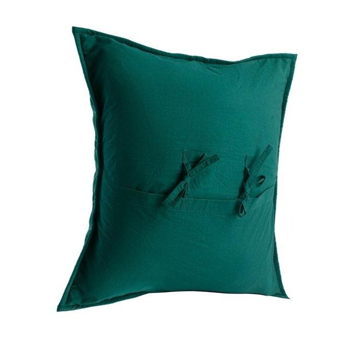 Чехол на подушку бархатный Хвойное утро зеленого цвета
