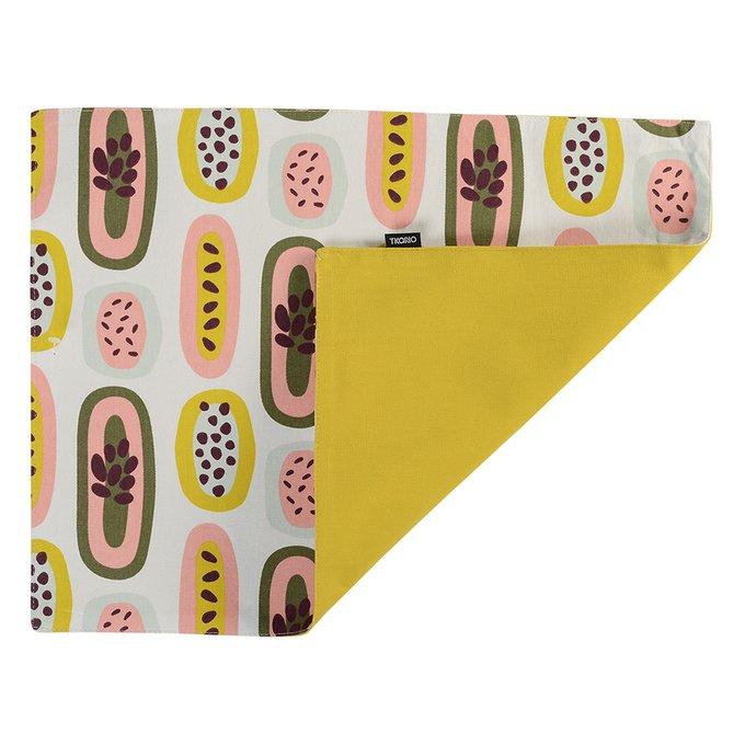 Салфетка двухсторонняя под приборы Wild горчичного цвета с принтом Passion Fruit 35х45
