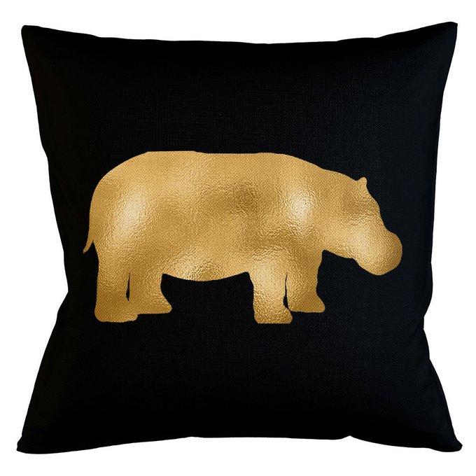 Интерьерная подушка Золотой бегемот 45х45