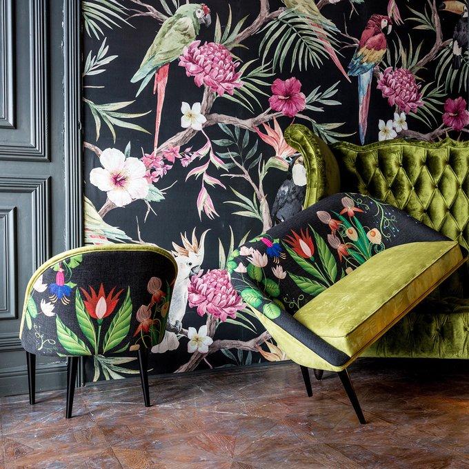 Кресло Тропический лес / Мёд с цветочным принтом