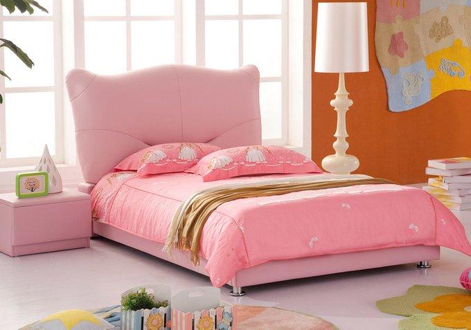 Кровать Pink Leather Kitty розового цвета 90х200