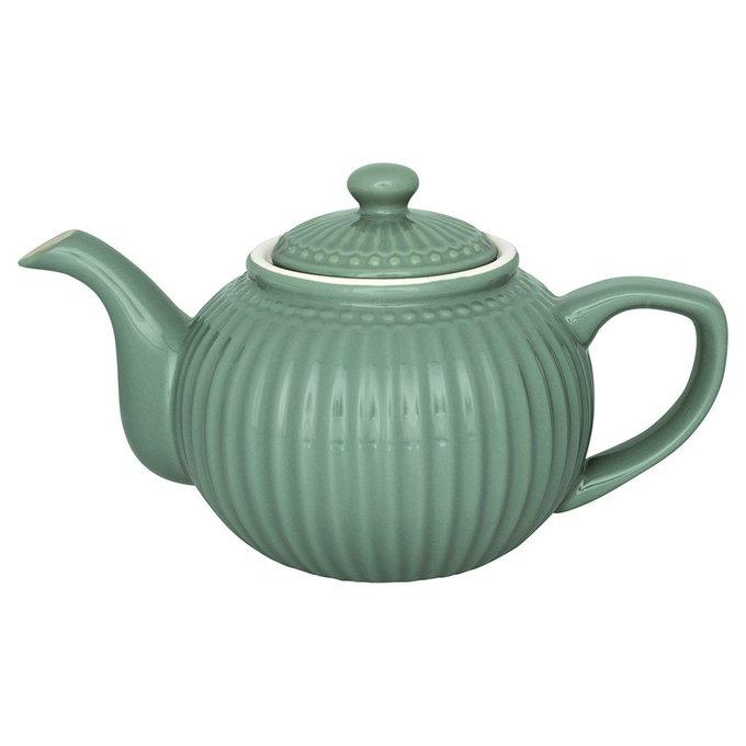 Чайник  Alice dusty green из фарфора