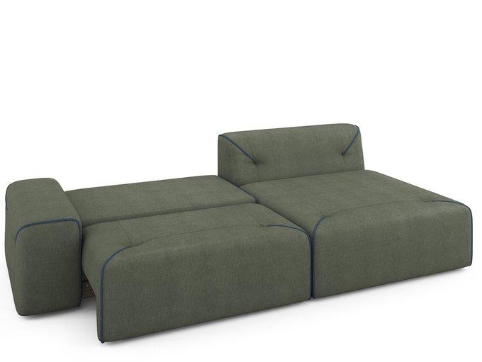 Угловой раскладной диван Portu правый темно-зеленого цвета