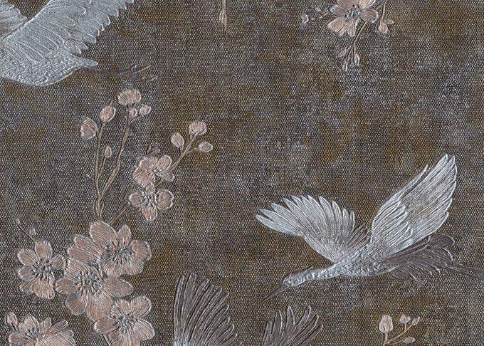 Обои Muralto Oasi Disegno Airone коричнево-серого цвета