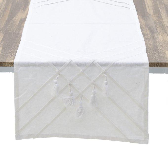 Скатерть-дорожка из хлопка белого цвета