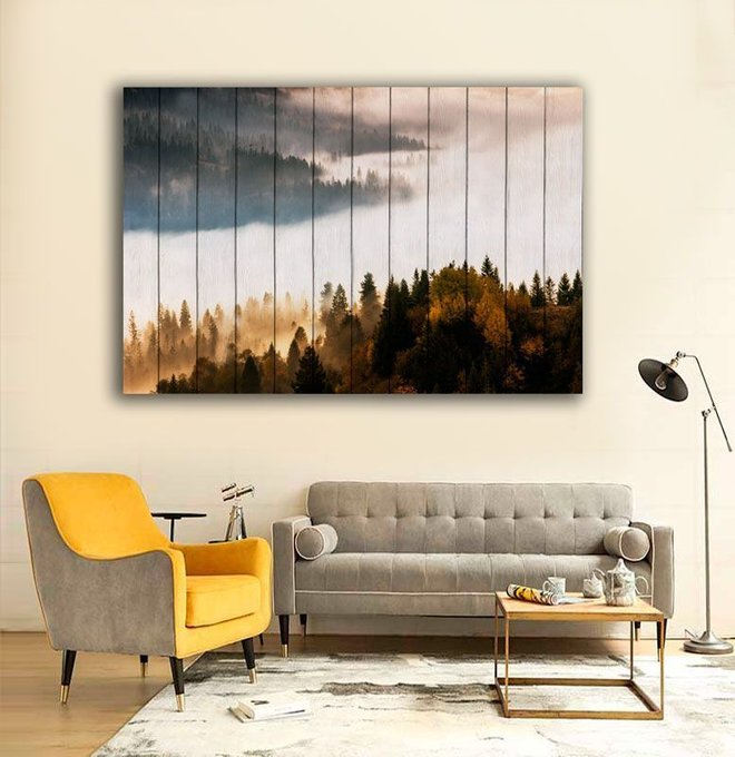 Картина на дереве Лесной пейзаж 60х90