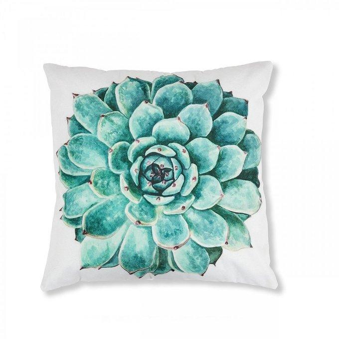 Чехол для подушки Jeaneбело- бирюзового цвета
