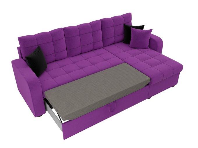 Угловой диван-кровать Ливерпуль фиолетового цвета