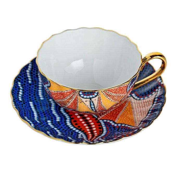 Чайная пара Мозаика Фиолетовая из керамики