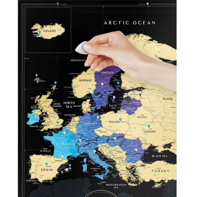 Карта Travel Europe map black europe