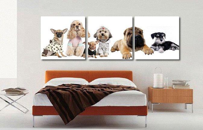 Модульная картина на холсте: Модные собачки