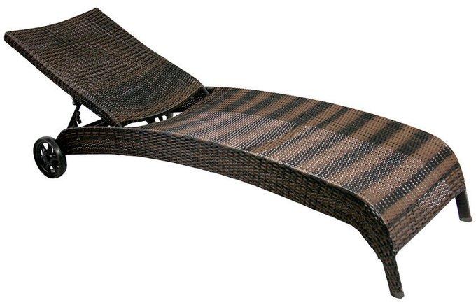 Шезлонг лежак из ротанга Monaco темно-коричневый