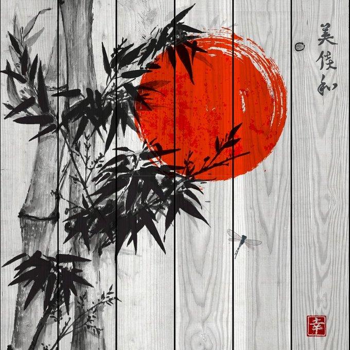 Картина на дереве Красное солнце 150х150