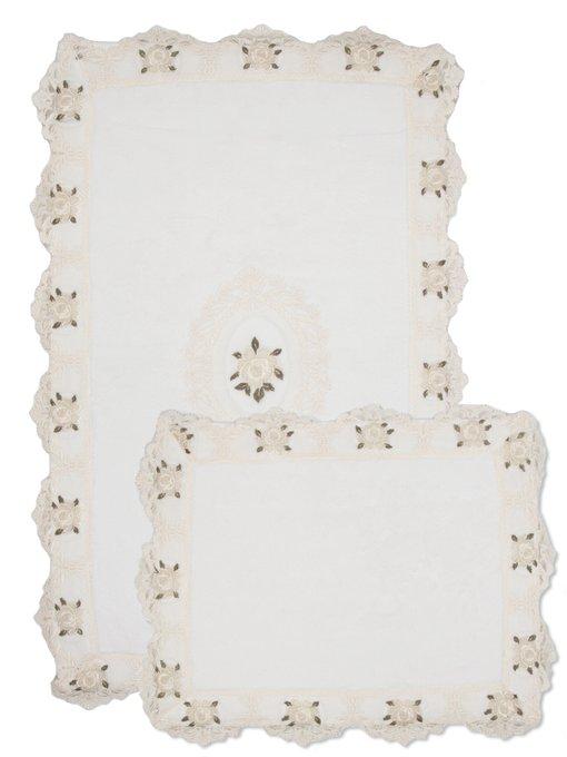 Набор из двух ковриков для ванной из хлопка белого цвета