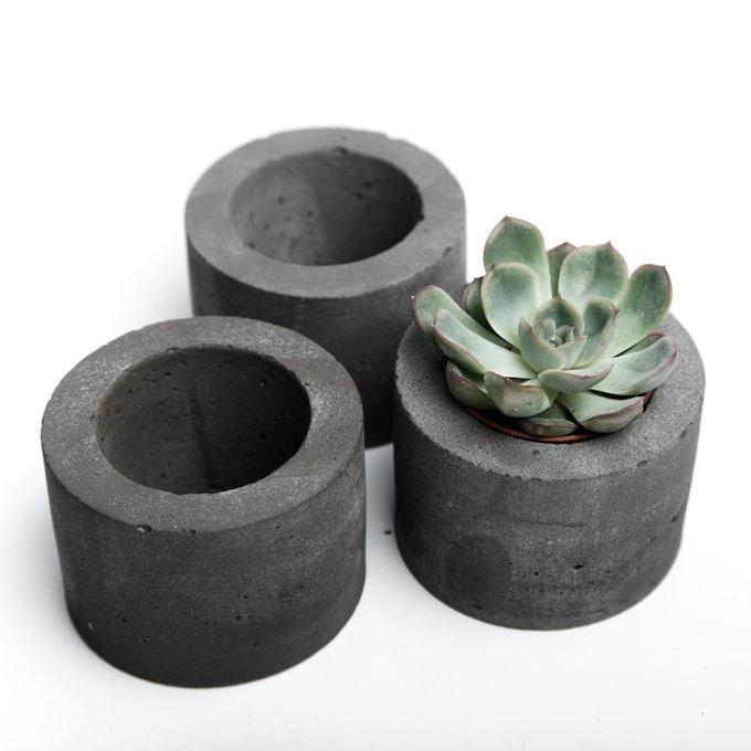 кашпо ЦИЛИНДР S темно-серый бетон