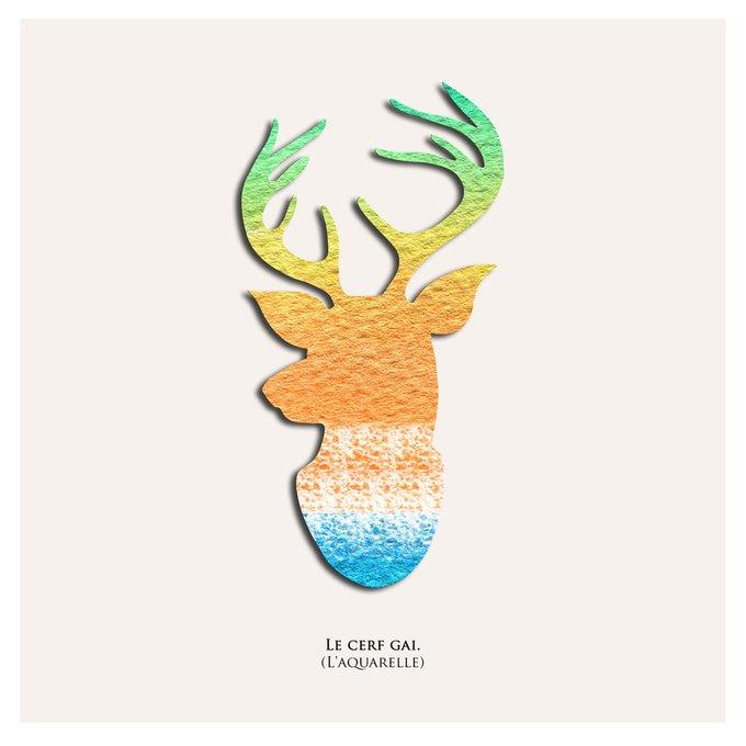 Картина (репродукция, постер): Радужный олень (акварель)