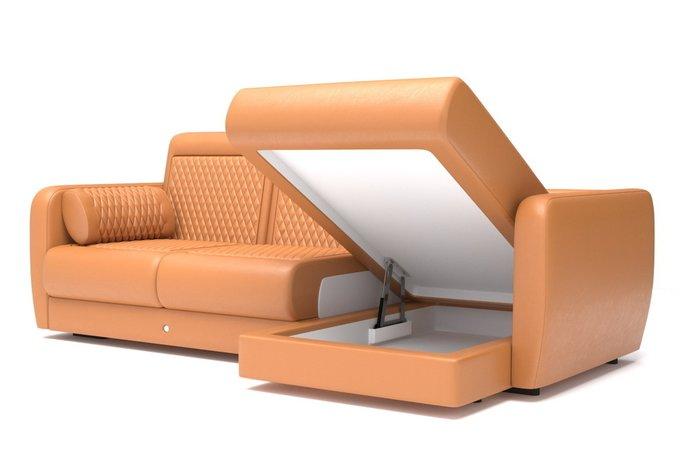 Угловой диван-кровать оранжевого цвета