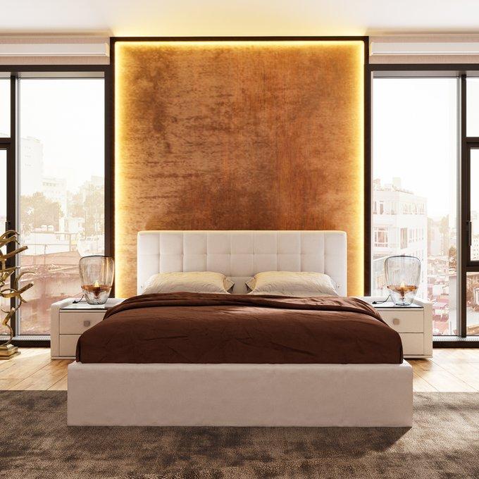 Кровать Инуа 160х200 белого цвета с подъемным механизмом