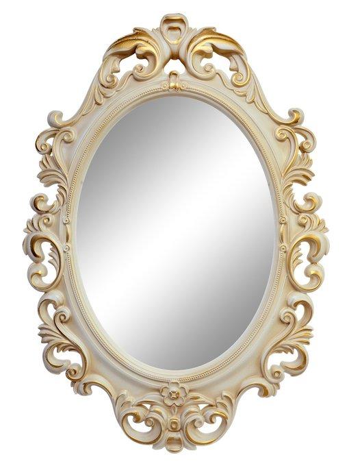 Настенное зеркало Лока Слоновая кость золото патина