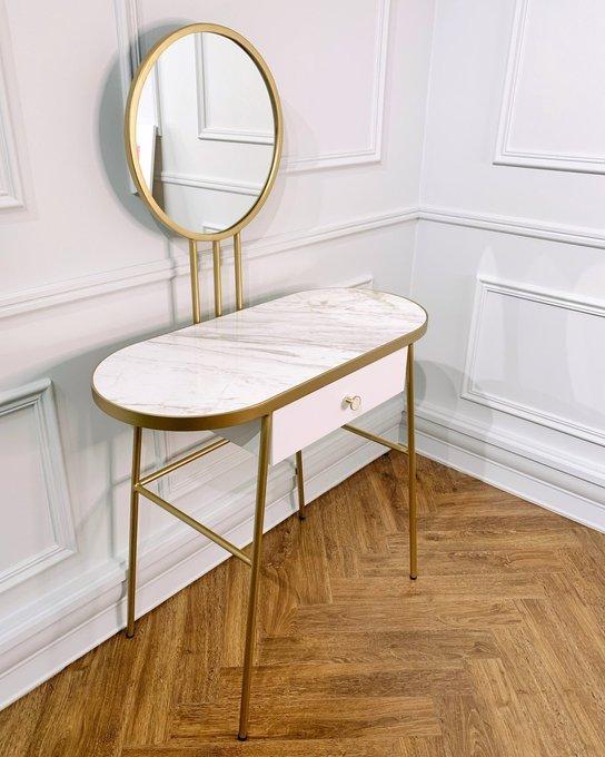 Туалетный столик Бирт с ящиком и зеркалом белого цвета