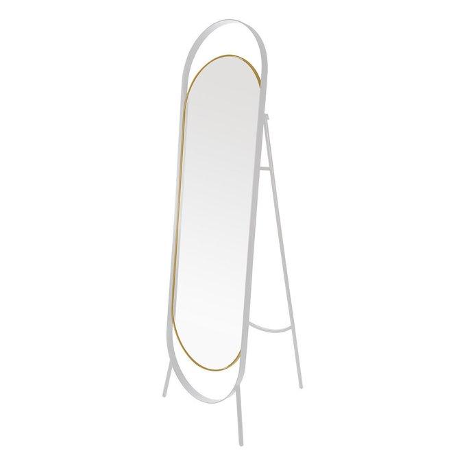 Зеркало напольное Вилла в бело-золотой раме