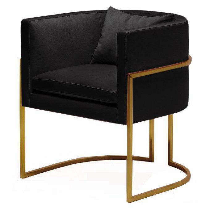 Кресло Julius chair черное с ножками цвета золота