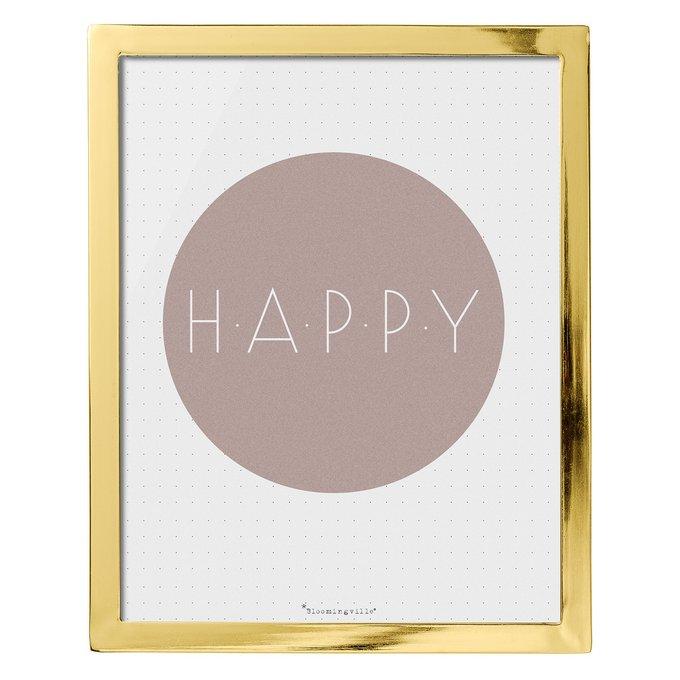 Картина Happy в золотой рамке