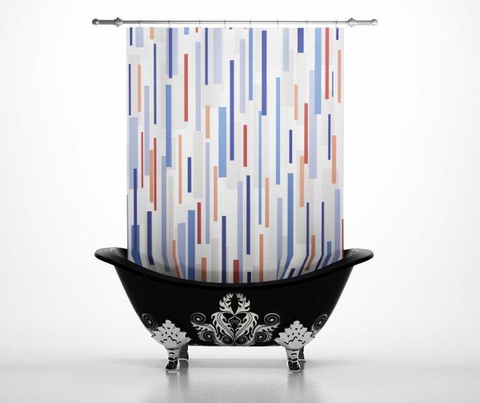 Стильные шторы для ванной: Дождь