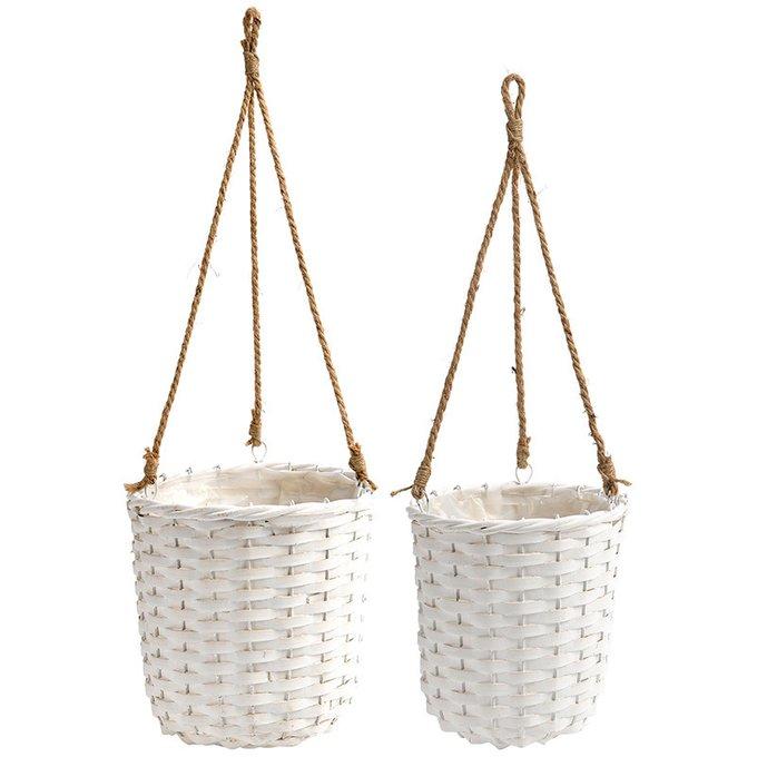 Набор из двух подвесных кашпо Olivia белого цвета