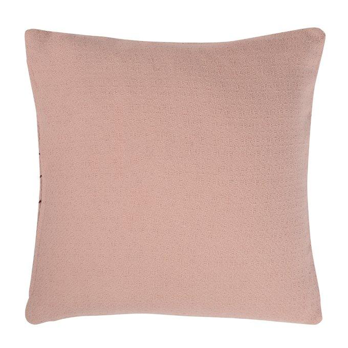 Подушка декоративная cтеганая Ethnic из хлопка цвета пыльной розы