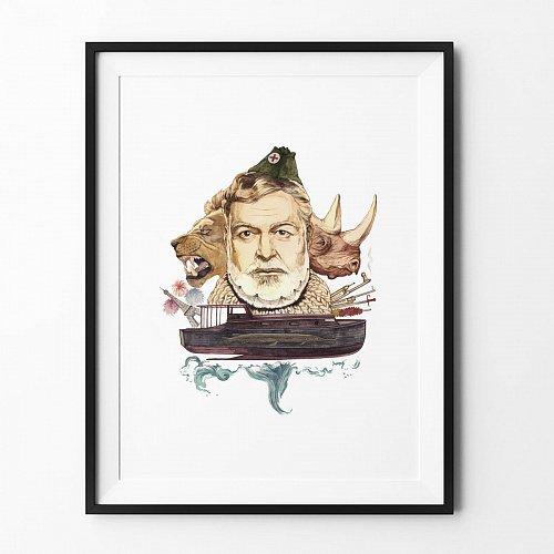 Постер Хемингуэй на акварельной бумаге