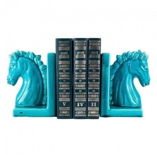 Держатель для книг декоративный Синий скакун синего цвета