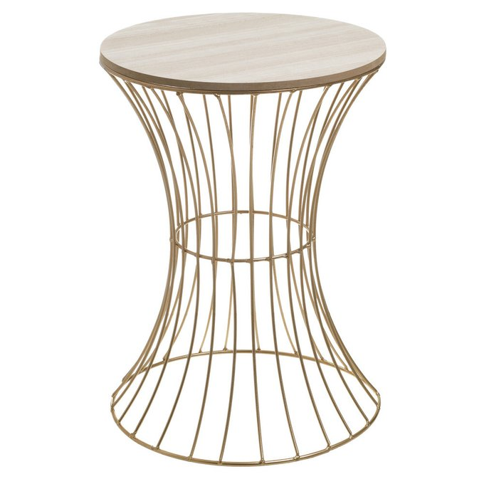 Приставной столик из дерева и металла