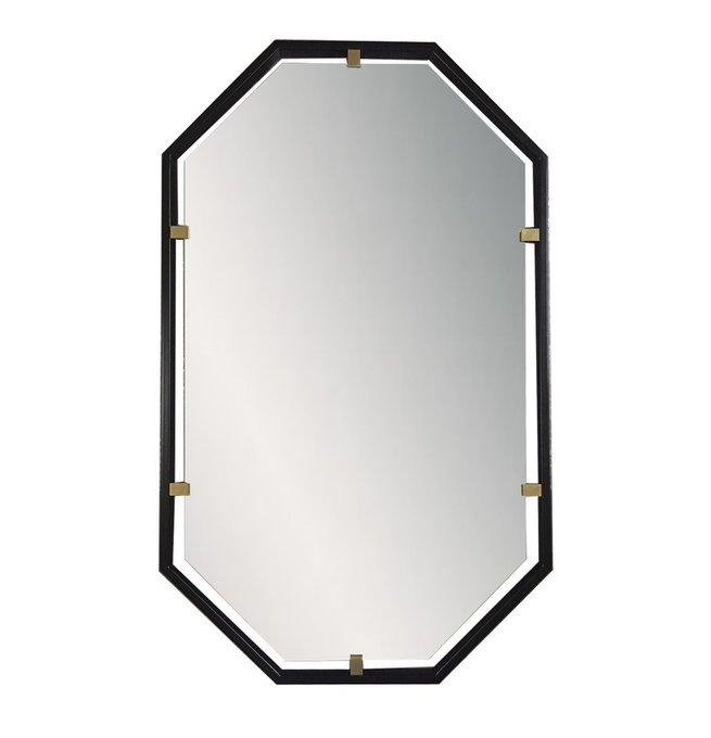 Зеркало в металлической раме с латунными скобами