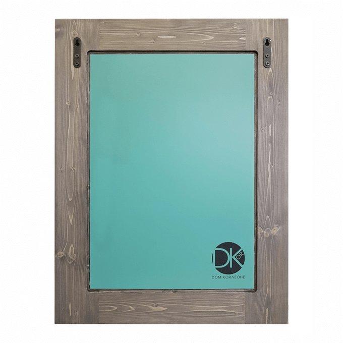 Настенное зеркало Синяя Жар-птица в раме из массива сосны 65х65