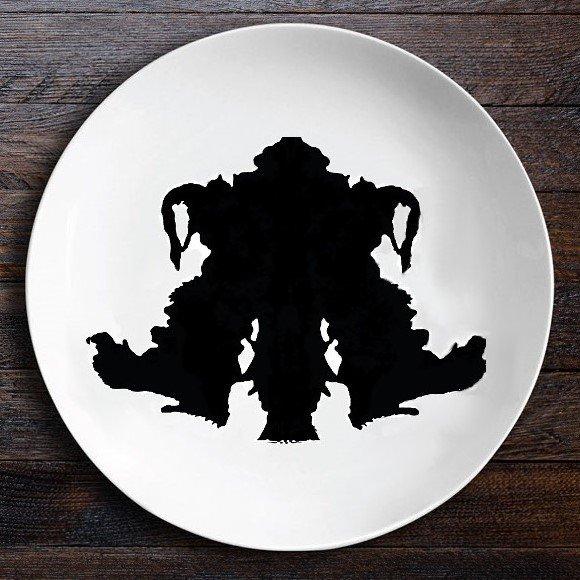 Набор тарелок Ужин с Роршахом Близнецы Байкер