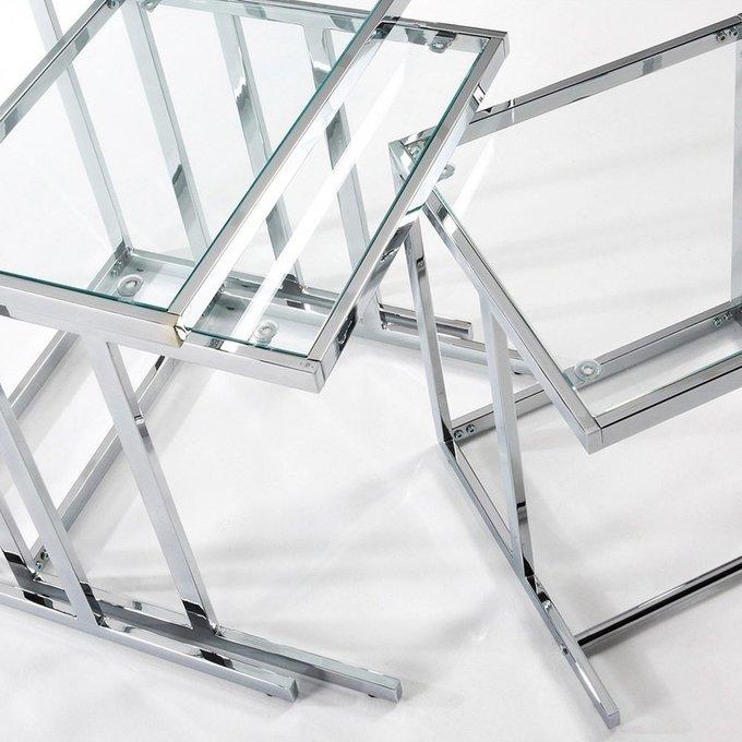 Набор из трех кофейных столов Blair из металла и стекла