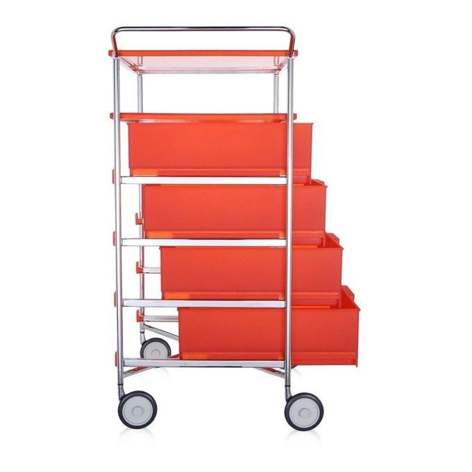Комод Mobil оранжевого цвета на колесах