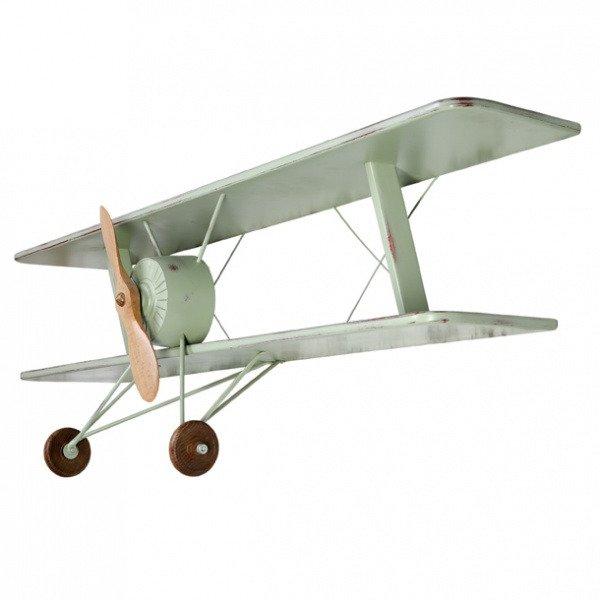 Полка-самолет Авиатор зеленого цвета