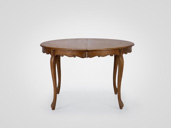 Обеденный круглый раздвижной стол из дерева минди с резьбой ручной работы