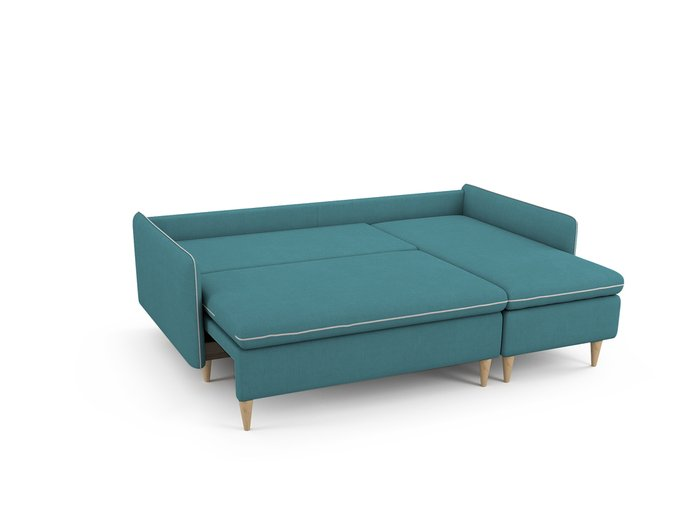 Угловой Диван-кровать Ron правый бирюзового цвета
