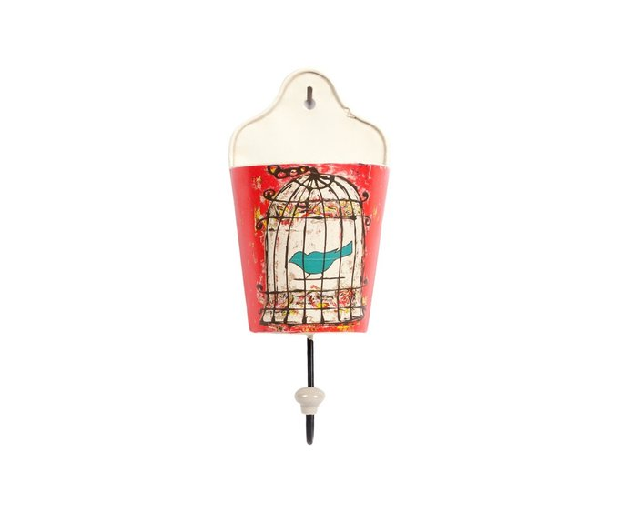 Настенный крючок Birdie In Pocket Red