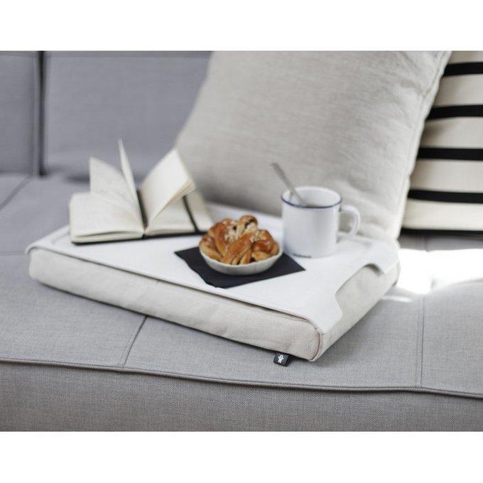Подставка с деревянным подносом Laptray мини бело-кремового цвета