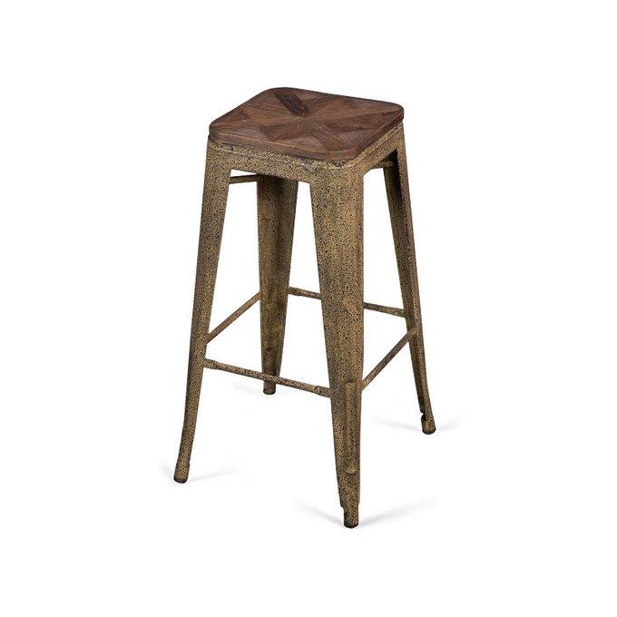 Табурет барный Tolix Wood с деревянным сидением