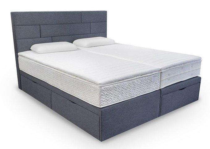 Кровать Домино серого цвета с тремя ящиками 180х200