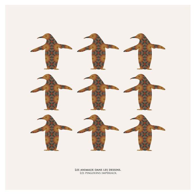 Картина (репродукция, постер): Императорские пинвины в узоре