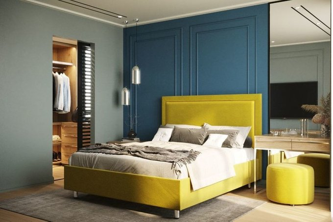 Кровать Юнит 160х200 тёмно-бирюзового цвета