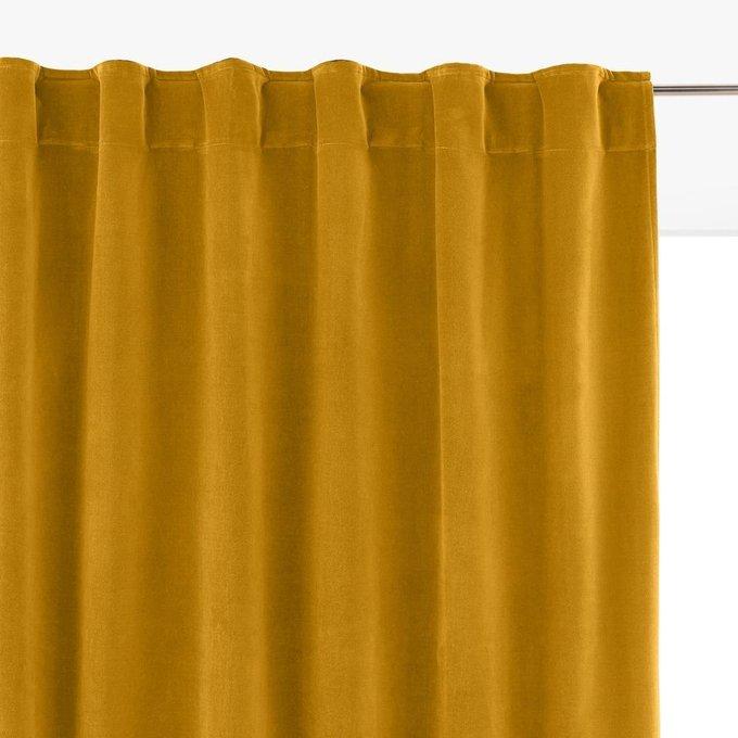 Штора Velvet из велюра с потайными клапанами желтого цвета 260x135