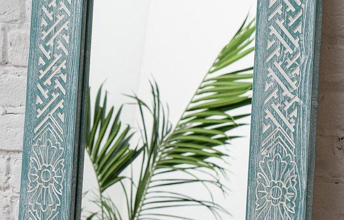 Настенное зеркало MMas Teal в раме из массива сосны